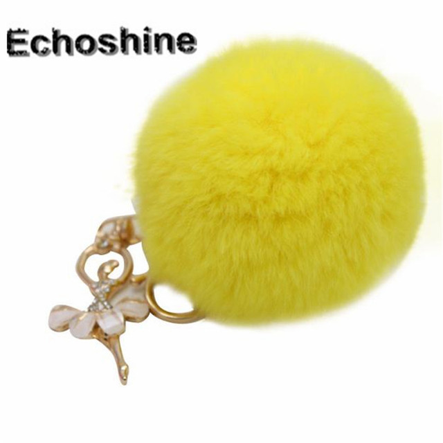 2016 candy color Charm Women Bag Accessories convenient and easy to use  Rabbit Fur Ball Keychain Bag Plush Pendant wholesale B05 b9c84e3690