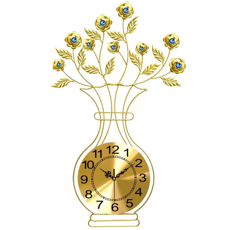 Европейская мода золотые часы Современный Творческий большой вазы кварцевые гостиная mute настенные синий/белый Стекло алмаз