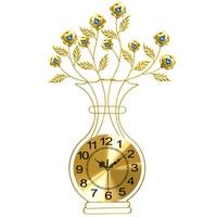 European fashion golden clock Modern creative large vases quartz clock Sitting room mute wall clock Blue / White glass Diamond
