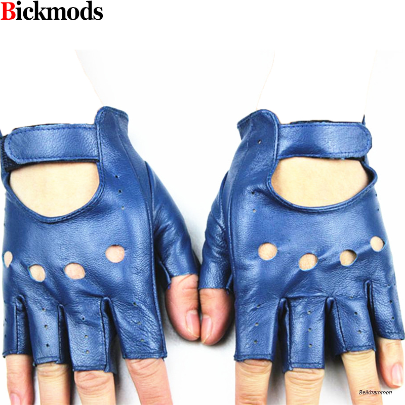 2019 New Fingerless  Gloves Women's Half-finger Sheepskin Fashion Hollow Style A Variety Of Colors 100% Full Driving