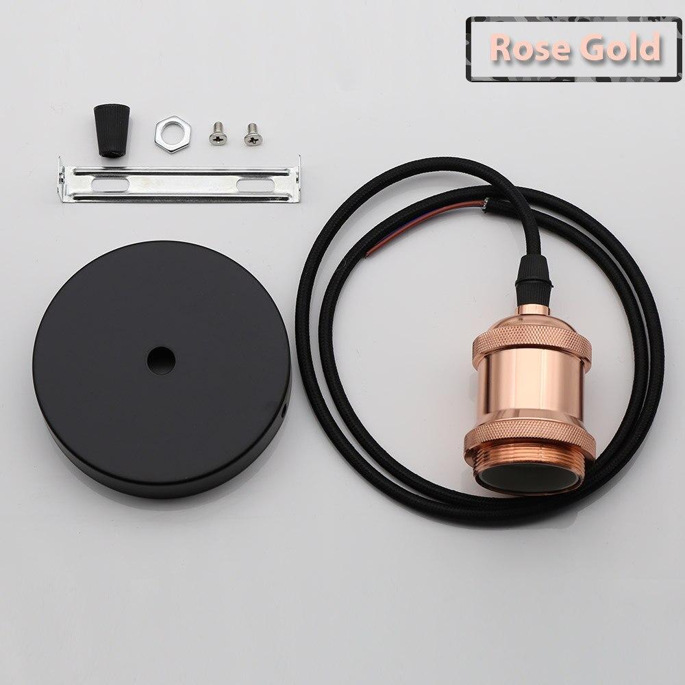 Винтажные подвесные светильники E27 патрон лампы 110V 220V винт переключения установки e27 Цоколи лампы Ретро держатель лампы edison - Цвет: Rose Gold