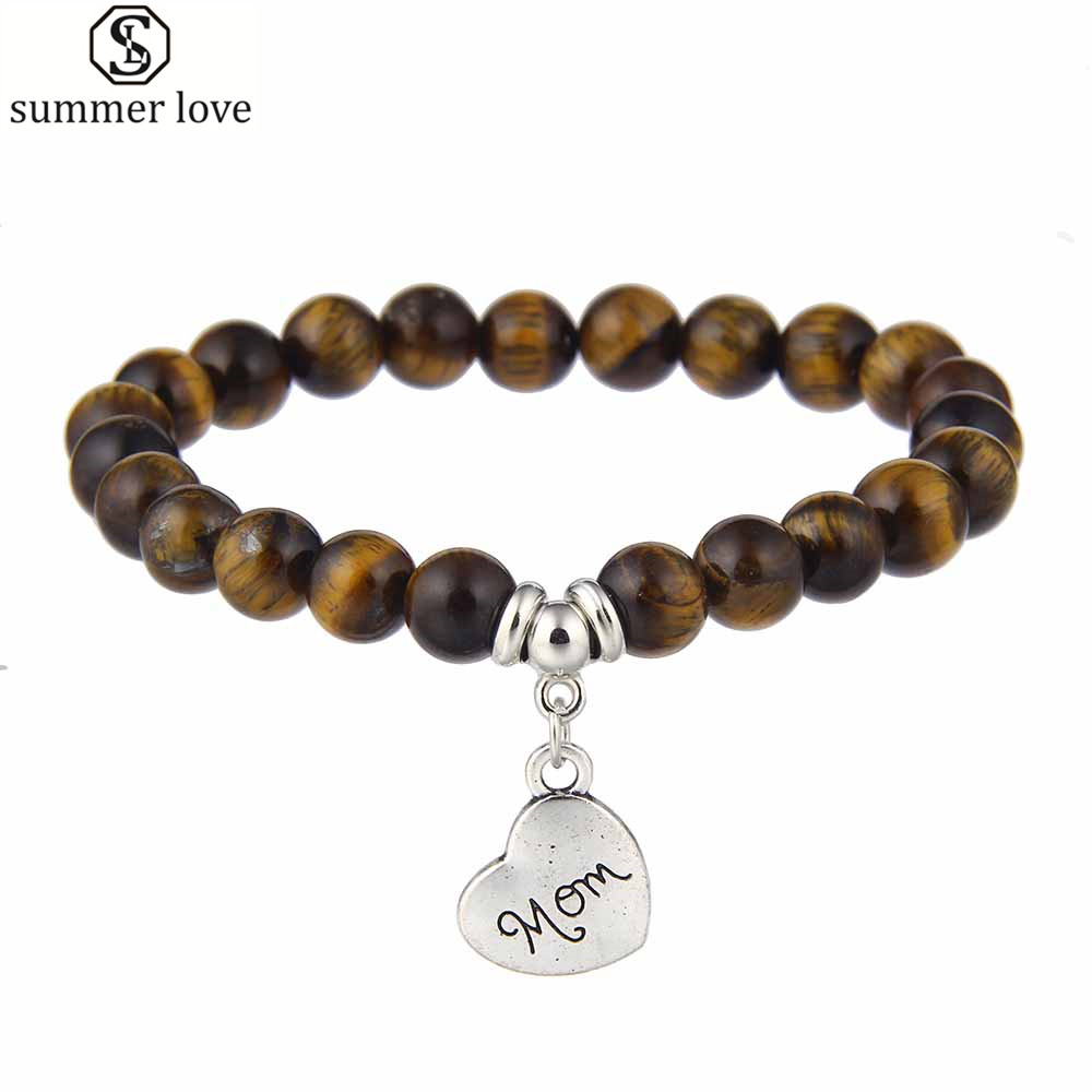 8mm Natural Tiger Eye Stone Women Bracelet Stretch Cat Eye Opal Mom Charm  Bracelets Pulseira Feminina