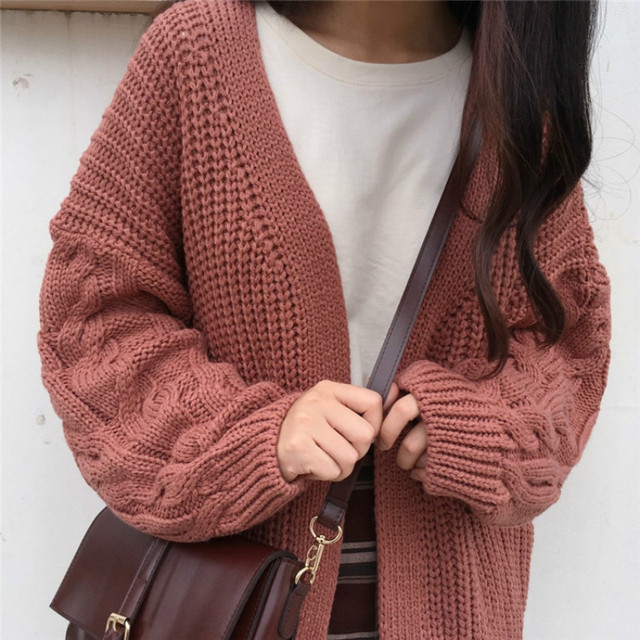 1189a996fb0a Knit Cardigan Sweater Women Long Sleeve Pockets Open Front Chunky Cardigan  Ladies Fall Winter wram Sweater Coat Pull Femme-in Cardigans from Women s  ...