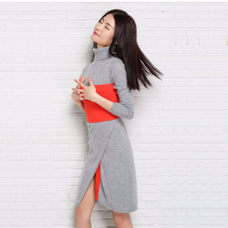 2017 New Fashion Women Dress Cashmere Knitted long Sweaters female Turtleneck Autumn Winter Warm Pullover Women