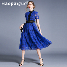 S-XXL Plus Size Hollow Out Blue Lace Dress for Women Patchwork Big Swing Loose Elegant Floral  Summer 2019