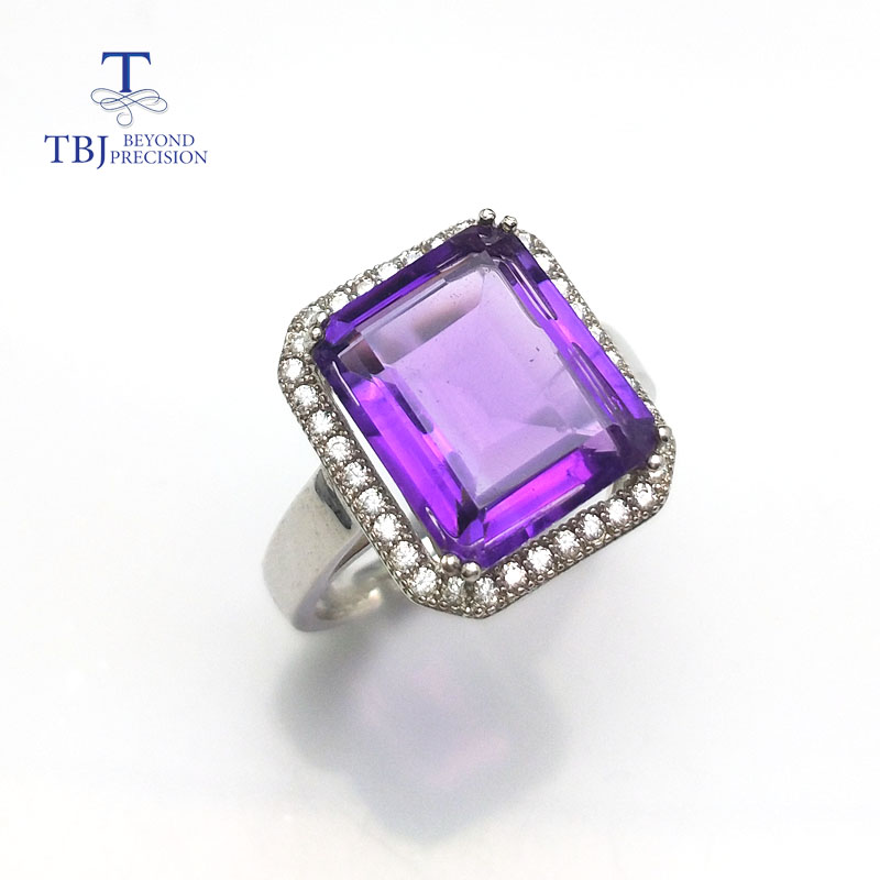 цена на TBJ,Simple and elegant emerald cut african amethyst big gemstone pendant ring for women in 925 sterling silver with gift box