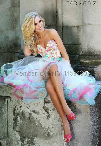 2017 Wholesale-- Hottest Homecoming Dresses With Sweetheart Flowers Backless A Line Short Front Long Charming Party Gowns