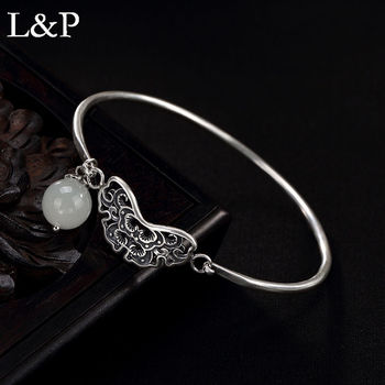 Elegant Jade Hand Cuff Bracelet For Lady Handmade Real 925 Sterling Silver Bangle For Wedding Engagement Fine Jewelry 2019