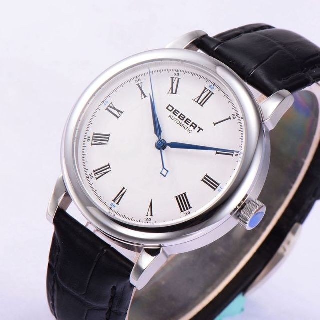 vintage black roman white crystal dial blue sapphire marks s automatic hands debert men item strap watches