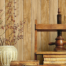 Vintage Stripe Wall Paper Waterproof Thickened PVC Wood Grain Wood Board Wallpapers Paper 3D Wall Decor Vinyl Wallpaper Decor