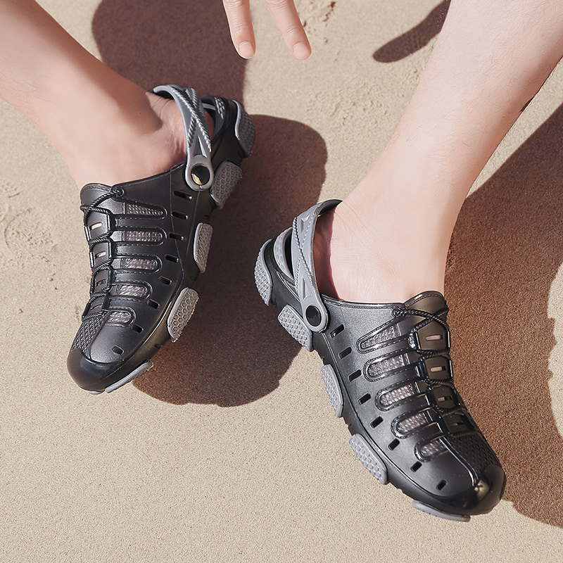 2019 Summer Men Beach Shoes Breathable And Cool Hole Sandals Comfortable Soft Jelly Shoes Antiskid And Wear Resistance