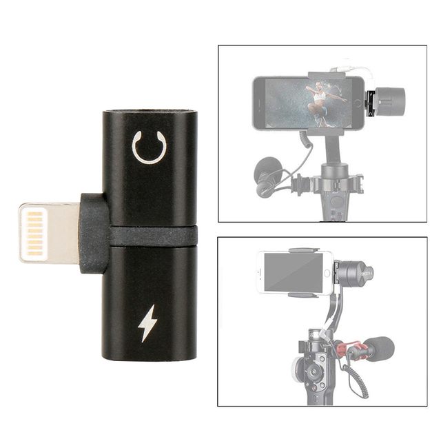 2 in 1 Audio Adapter charger cable for Zhiyun Smooth 4 Gimbal iPhone 7 8 X Plus Charging Audio Cable for lightning to Earphone