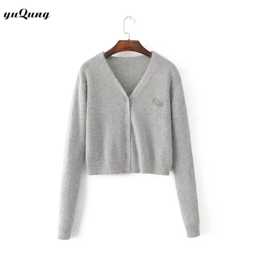 yuqung fluffy Cardigan Women v neck Sweater embroidery letter ...