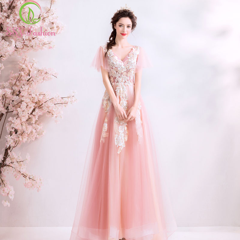 SSYFashion New 2019 Sweet Pink Lace Evening Dress Short Sleeve Floor length V neck Appliques Prom