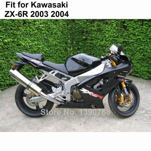 Free Custom Fairings Kit For Kawasaki Zx6r 03 04 Black Fairing Ninja