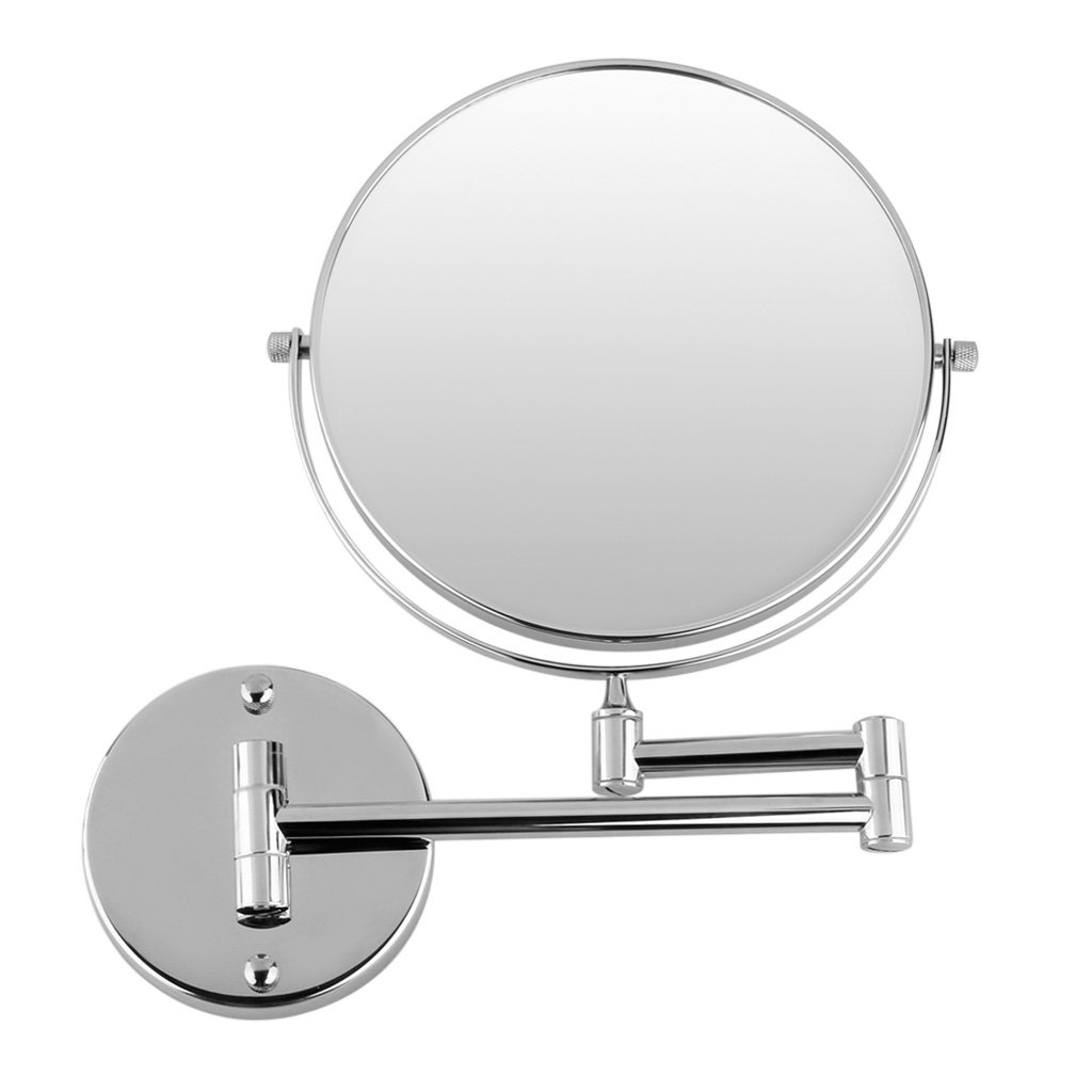Chrome Round 8 Wall Mirror Vanity Cosmetic Mirror Double-sided 7X Magnifying Mirrors Bathroom Makeup 360 Angle Swivel Mirrors