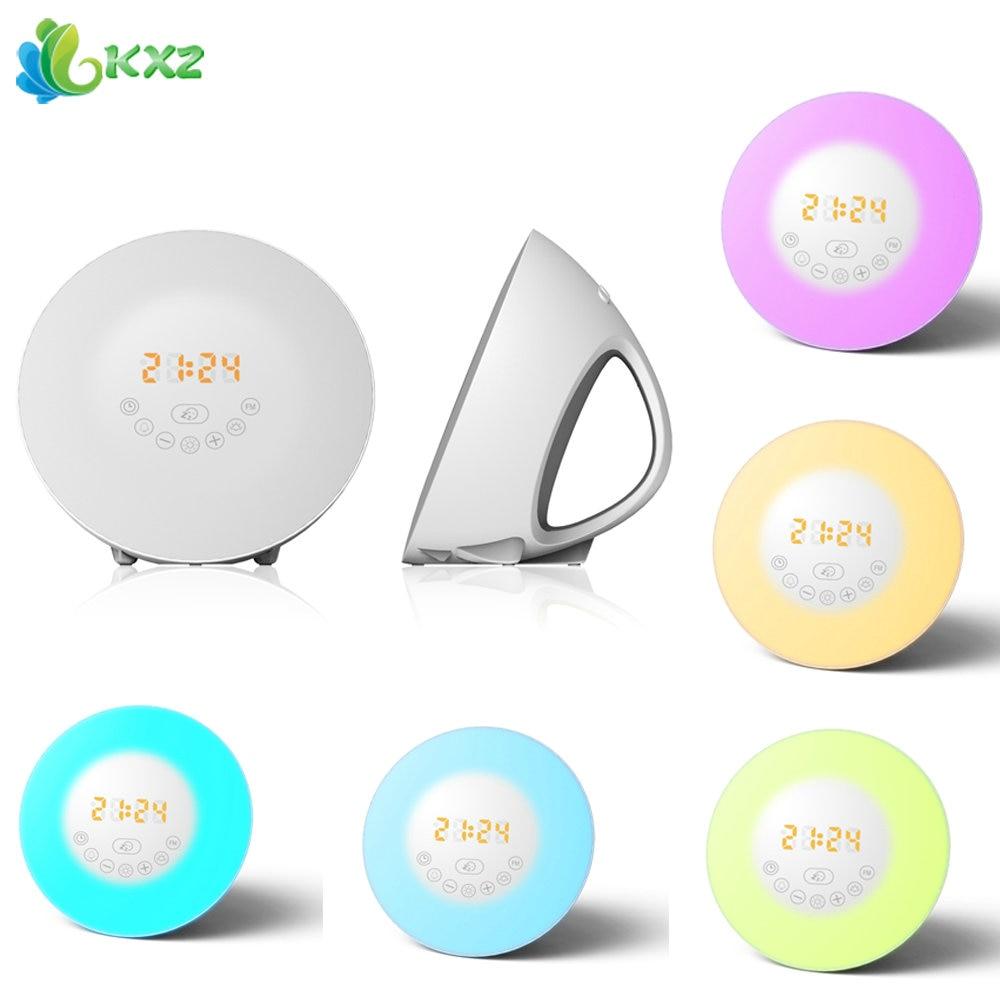 Wake Up LED Night Light Alarm Clock with Sunrise Simulation FM Radio Table Lamp for Kids Children Baby Bedroom Nightlight Gift philips hf350570 wake up light световой будильник
