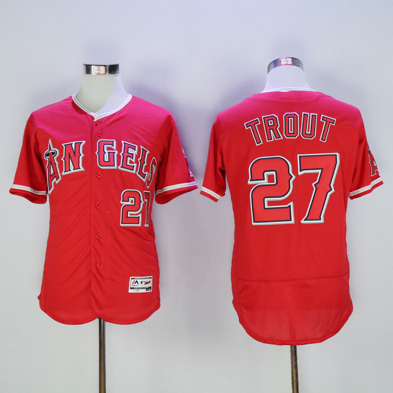 ... 2016 Mens Flexbase 27 Mike Trout Stitched Throwback Jerseys Color white  gray red black Los Angeles Angels ... e802c5309
