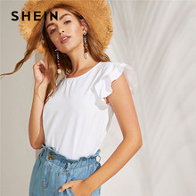 9641a433c2 SHEIN Lady Casual Layered Ruffle Armhole White Blouse Women Minimalist  Solid Round Neck Summer Blouse Womens Tops And Blouses