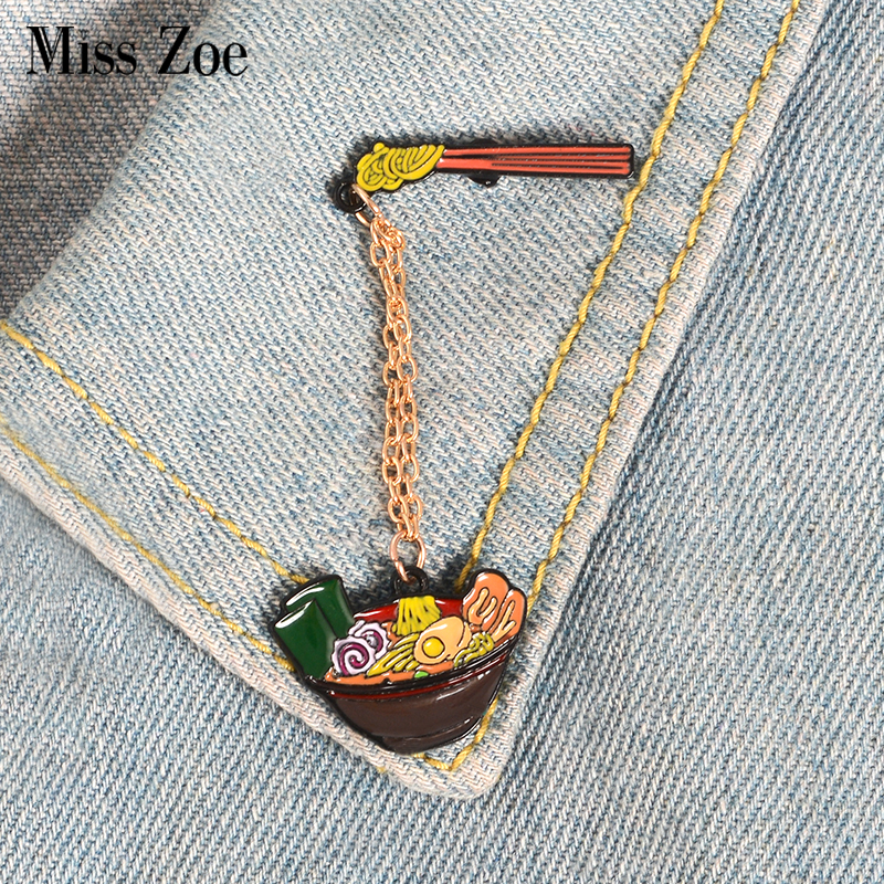 US $0.96 41% OFF|Japanese Porpoise Ramen Enamel Pins Custom Brooches with Chain Bag Lapel Pin for Clothes Badge Creative Food Jewelry for