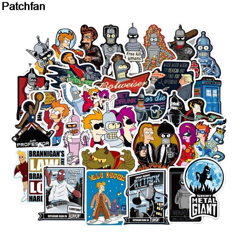 Patchfan 74pcs Futurama Cartoon Funny Pvc Stickers For Diy Decoration Scrapbooking Luggage Skateboard Laptop Wall Guitar A1938