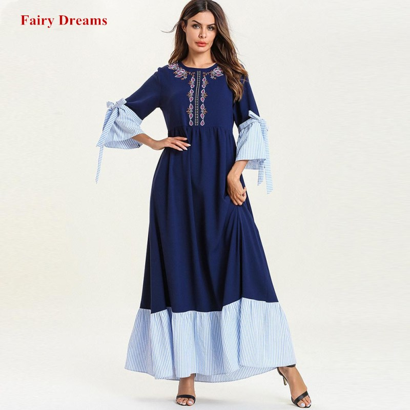 6a815edd0a Dubai Abayas For Women Plus Size Bangladesh Turkish Kaftan Islamic Clothes  Embroidery Long Sleeve Muslim Dress Fashion Blue Robe