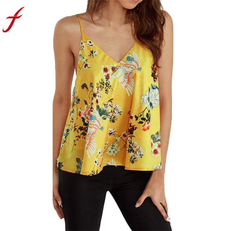 Hot Sale Casual T Shirt 2018 New Women Summer Print Sleeveless Shirt Casual  Summer Style T-Shirt Simple and Elegant T Shirts