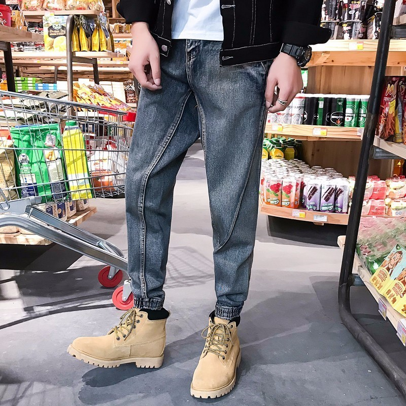 2018 New Mens Fashion Denim Haren Pants Bound Feet Baggy Stretch Slim Fit Hip Hop Style Jeans Casual Trousers Size M-4XL