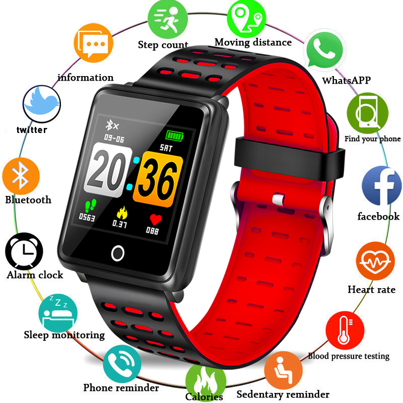 Relógio Do Esporte Profundidade LIGE IP68 Pressão Arterial Pulseira Heart Rate Monitor de Calorias Pedômetro À Prova D' Água Inteligente Informações Lembrete