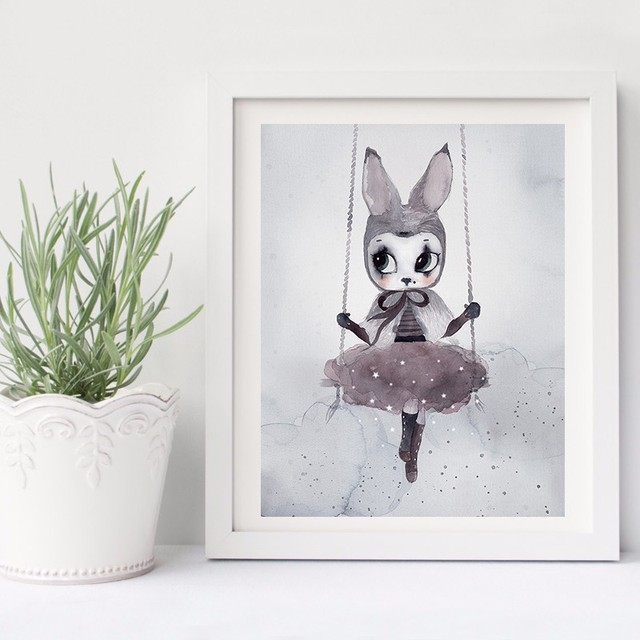 Poster And Prints Nordic Decoration Nursery Wall Art Canvas Painting Beautiful Rabbit Print Pictures