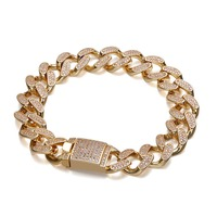 12mm Hip Hop AAA Zircon Paved Bling Iced Out CZ Bracelets Gold Silver Color Cuban Miami Link Chain Charm Jewelry Drop Shipping