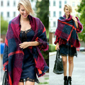 Wj13 осень и зима моды светящийся шотландка одеяло пончо женщины мыс шаль шарф шарфы