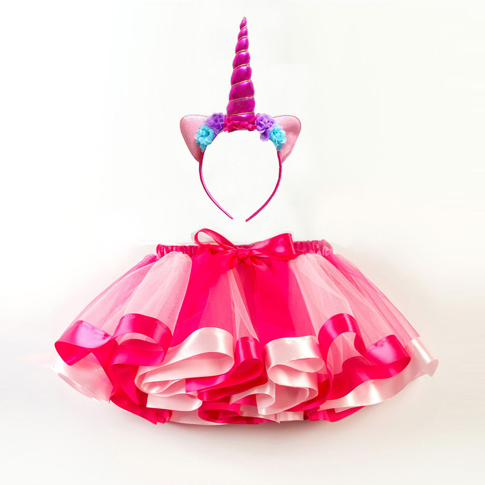New Girls' Dress Rainbow Unicorn Party With Headband Halloween Christmas Cosplay Costume Kids 2018 Summer Dress Party Dress