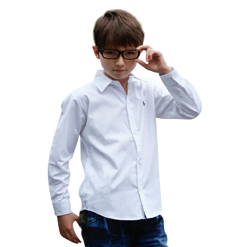 Boys Dress Shirt NEW 2017 Spring Autumn Big Boy Long Sleeve 100% Cotton Baby Kids Brand Shirt 3t ...
