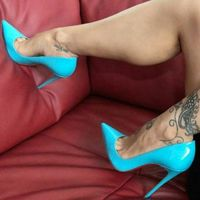 2019 Spring Newest Sky Blue Patent Leather High Heels Girls Pointed Toe Sexy Pumps Big Size 42 Thin Heels Woman Shoe