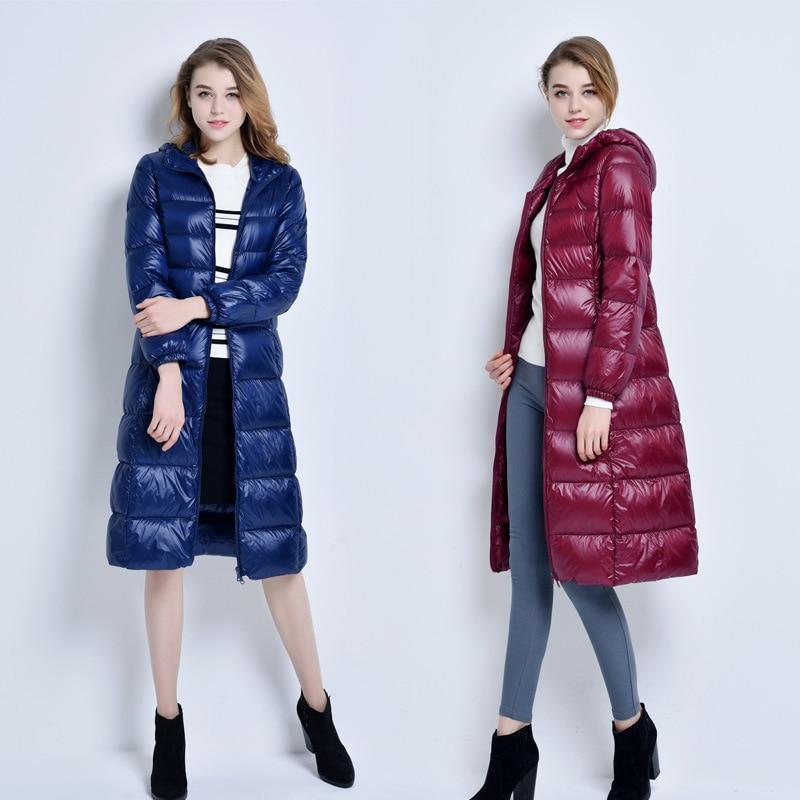 Veste d'hiver Femmes Plus La Taille Parka Femmes 2018 Mode Femmes Veste Manteau Femelle 95% de Canard Blanc Long Slim Zip Veste hiver Femmes
