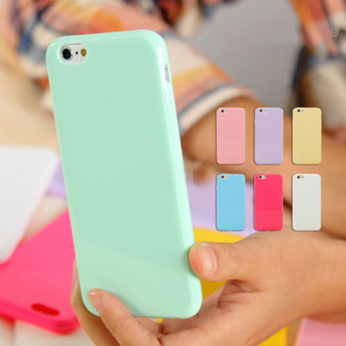 PASTEL CANDY GLOSS SHINY SOFT SILICONE HOUSSE DE COUVERTURE COQUE POUR IPHONE11 X 6 7 8 PLUS / 5S / 5C / 4S / XR XS Max 6S SE Fundas Coque