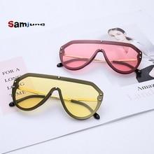 Samjune Oversize Mirror Sunglasses Female Siamese Rimless Square Sun Glasses For Women Men Fashion Trend Goggles