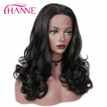 HANNE Synthetic Lace Front Wigs For Black Or White Women Heat Resistant Fiber Bl