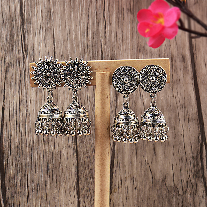 Image 2 - India Retro Birdcage Earrings Handmade Antique Silver Color 