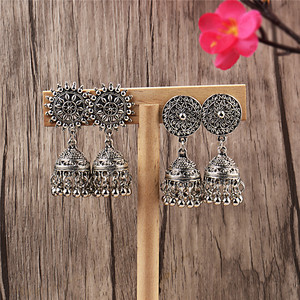 Image 2 - India Retro Birdcage Earrings Handmade Antique Silver Color Tribal Jewelry BOHO Hippie Wind Pakistani Muslim Thailand Nepal