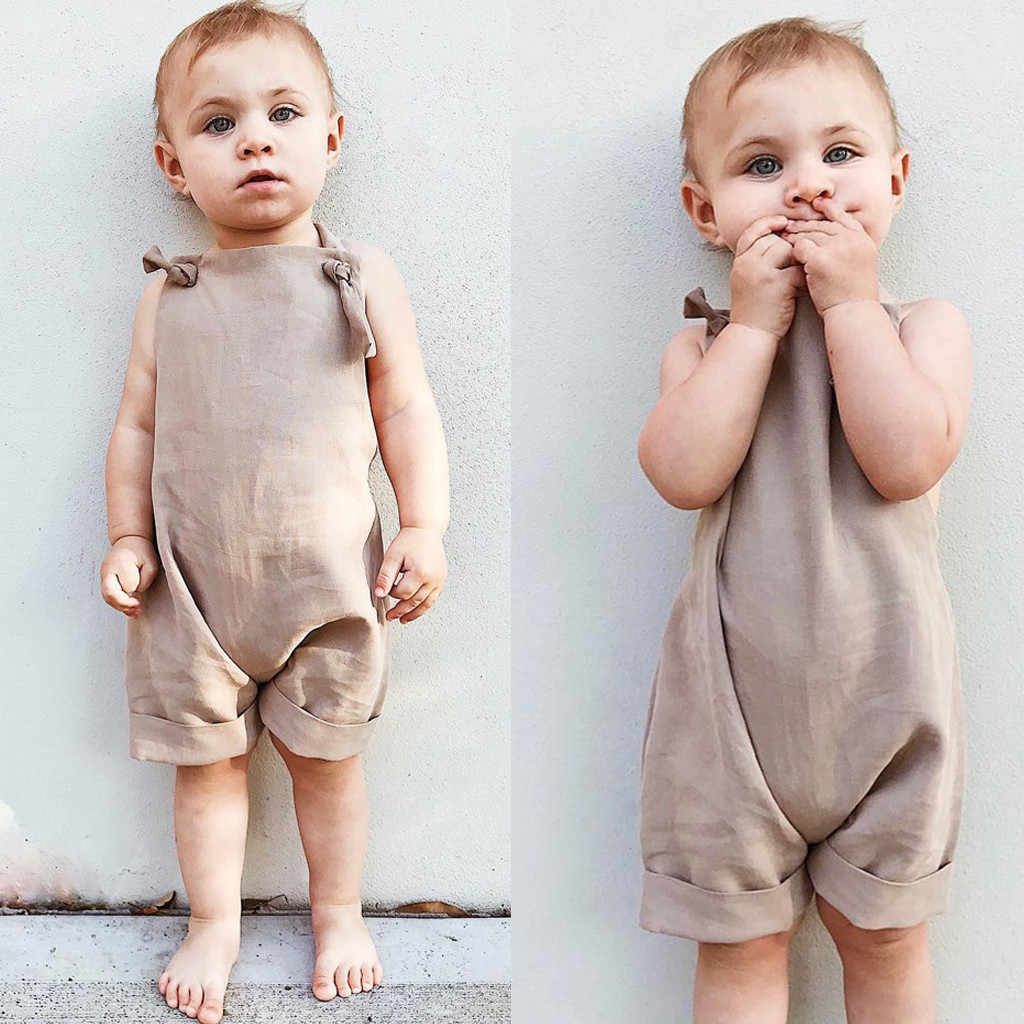 Summer Baby Romper Infant Girls Boys Korean Style Summer Casual Simple Cute Sleeveless Backless Solid Romper New Clothes