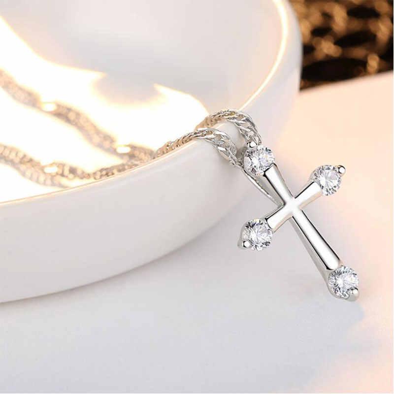 Anenjery Классическая мода Кристалл Циркон крест кулон ожерелье для женщин лучший подарок kolye T-N42