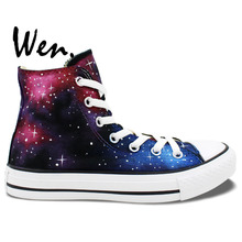 Wen Original Hand Painted Shoes Design Custom Wine Red Galaxy Starlight Men Women's High Top Canvas Sneakers Gifts Boys Girls