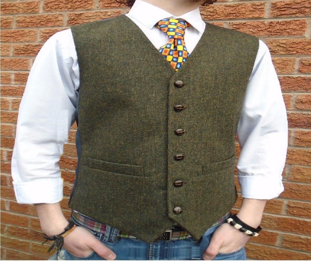 Зеленый твидовый винтажный деревенский свадебный жилет с кожаными пуговицами, зимний Приталенный жилет для жениха, смокинг, жилет для выпускного вечера