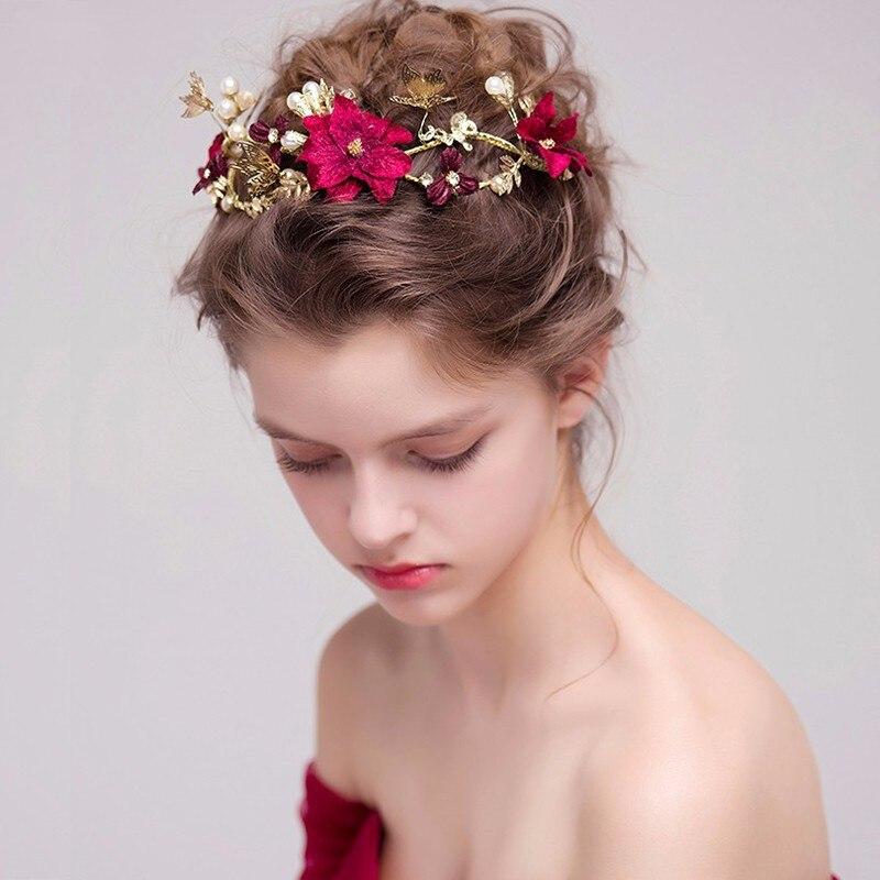 623 15 De Réductionfait à La Main Fleur Rouge Coiffures De Mariée Feuilles Dor Papillon Mariage Bandeau Accessoires De Cheveux Mariée Perle
