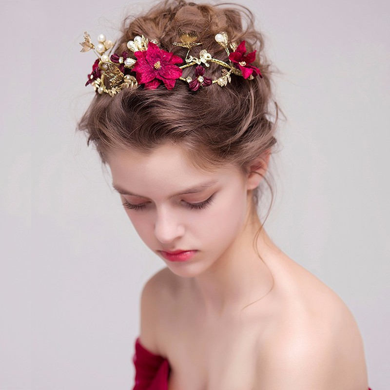 Handmade Red Flower Bridal Hairstyles Gold Leaves Butterfly Wedding Headband Hair Accessories Bride Pearl Headpiece Party Wear