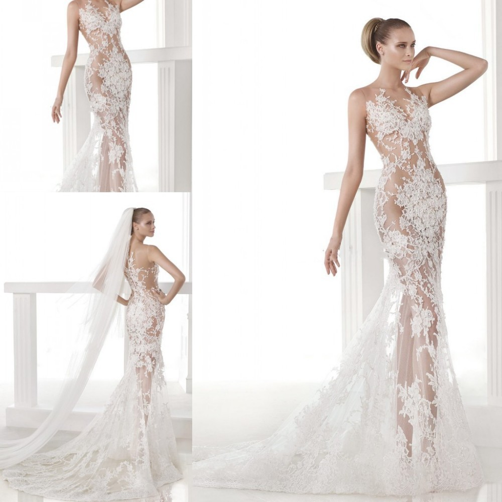 New Arrival Vogue Sheer See Through Lace Applique Tulle Bride Super ...