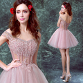 Sexy Pink V-Neck Curto Mini Tulle Prom Vestidos Off The Sholder Apliques & Pérolas Lace Up de Volta Vestidos de Festa Da Dama de Honra vestidos