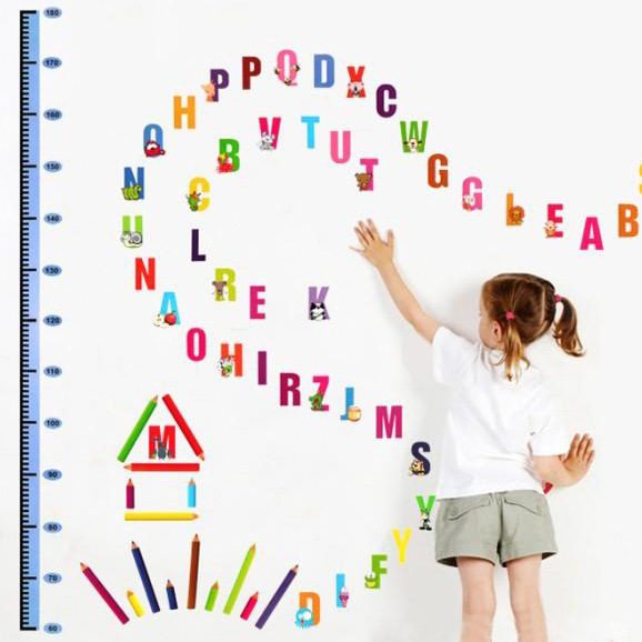 1Pc PVC Waterproof Removable Wall Sticker ABC English Letters